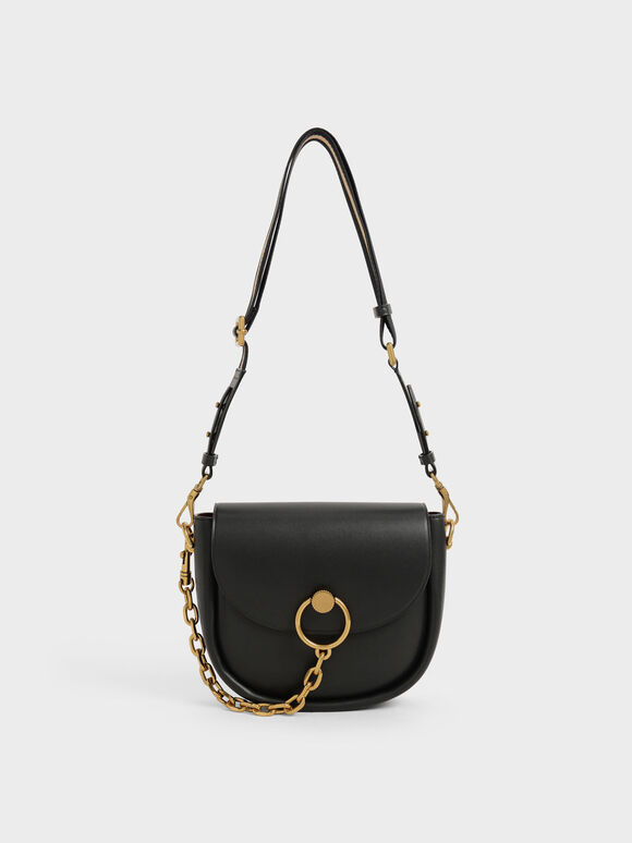 Chunky Chain-Link Saddle Bag, Black, hi-res