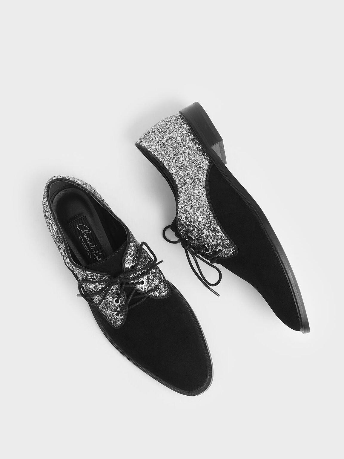 Kid Suede Glitter Derby Shoes, Black, hi-res