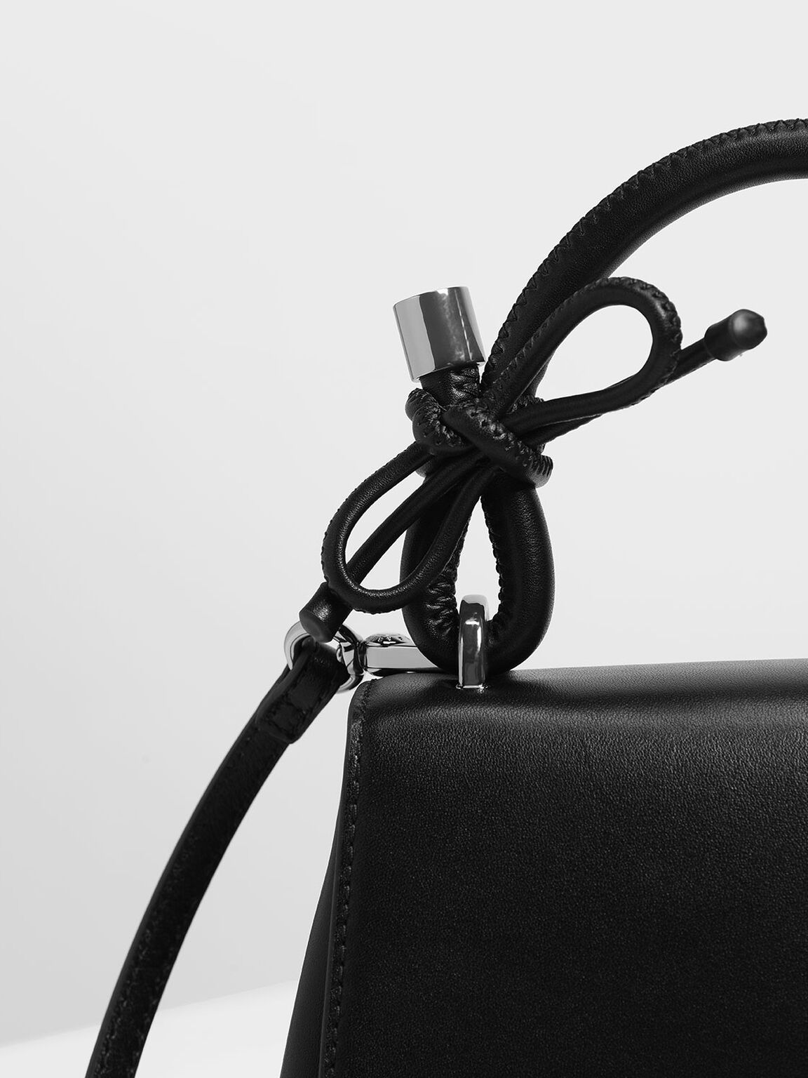 Double Bow Leather Top Handle Bag, Black, hi-res
