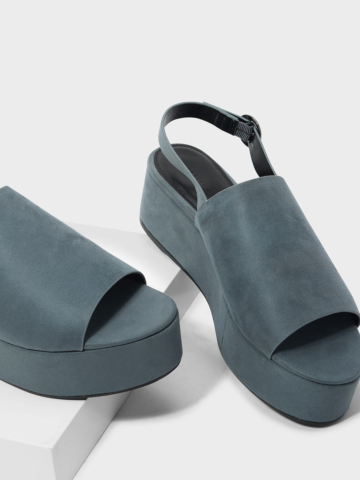 Slingback Flatforms, Blue, hi-res