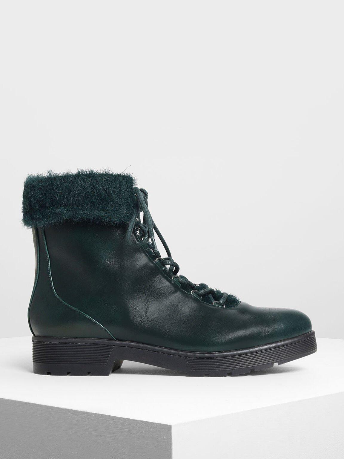 Furry Cuff Detail Combat Boots, Dark Green, hi-res