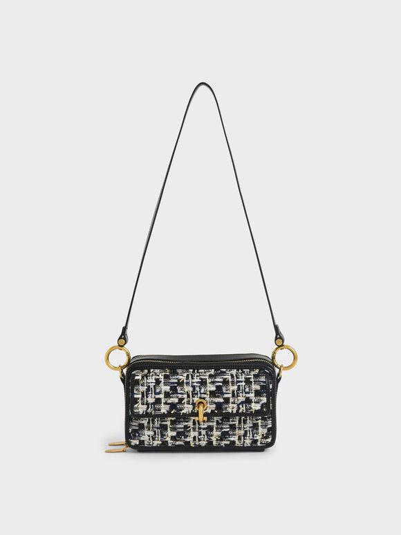 Tweed Boxy Crossbody Bag, Navy, hi-res