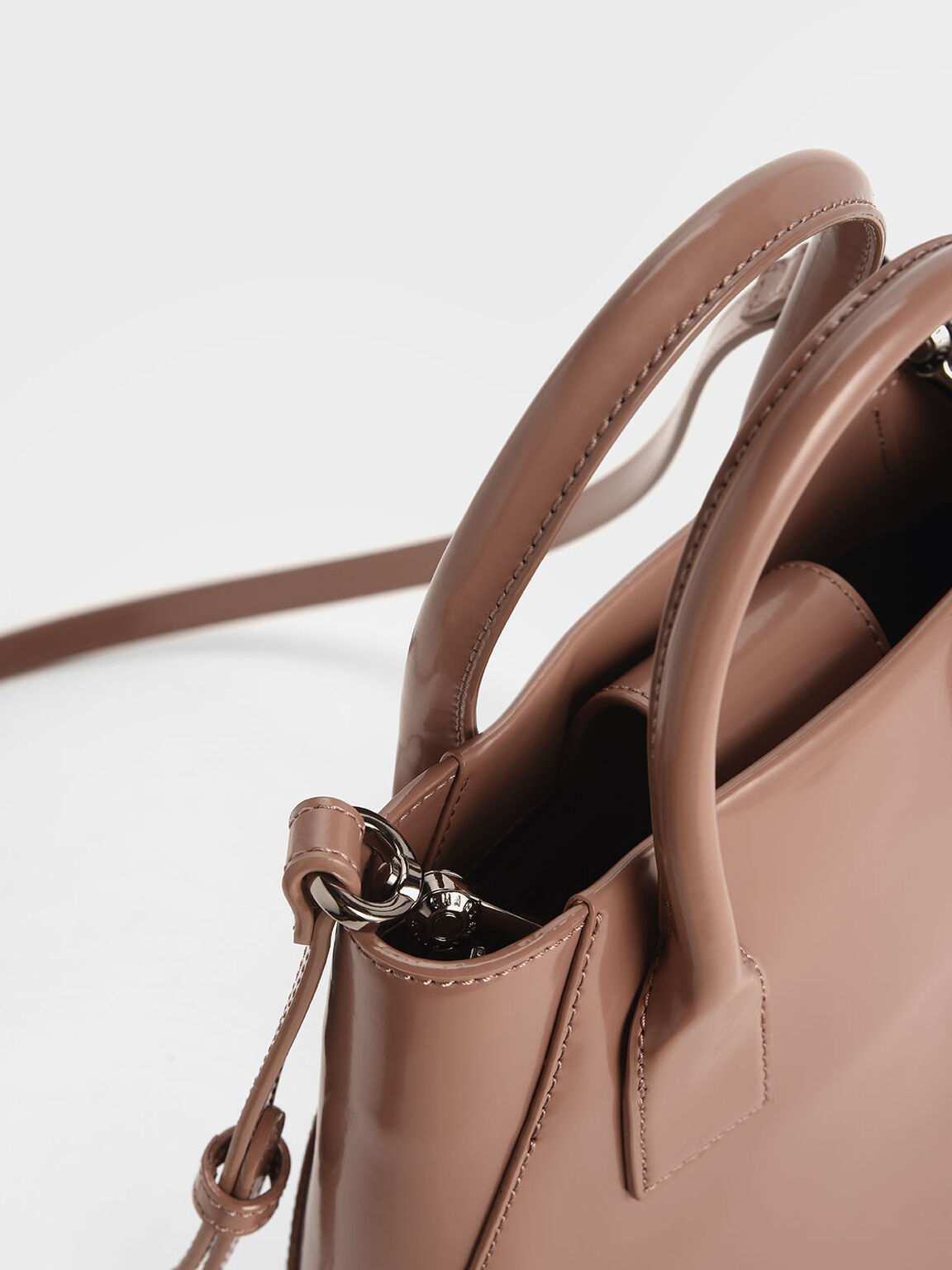 Leather Boxy Bucket Bag, Blush, hi-res