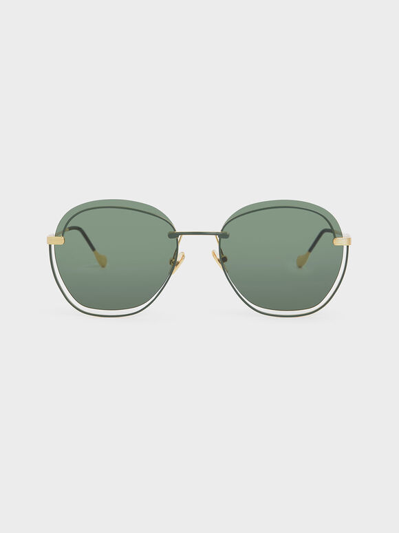 Cut Out Butterfly Sunglasses, Green, hi-res