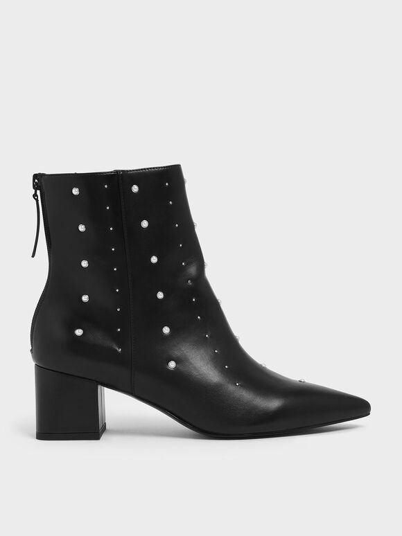Embellished Block Heel Ankle Boots, Black, hi-res