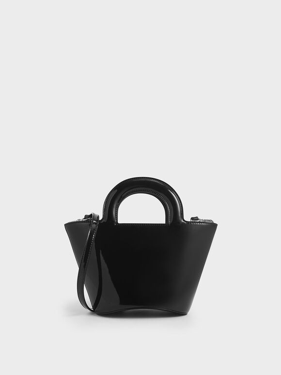 Patent Trapeze Bag, Black, hi-res