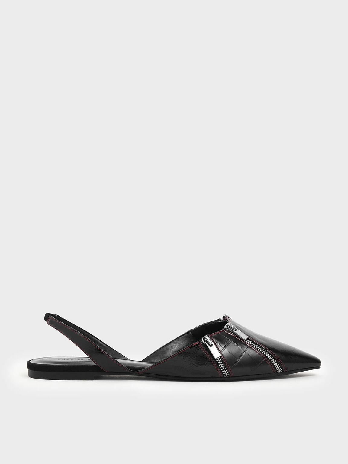 Wrinkled Patent Zip Detail Pointed Toe Slingback Flats, Black, hi-res