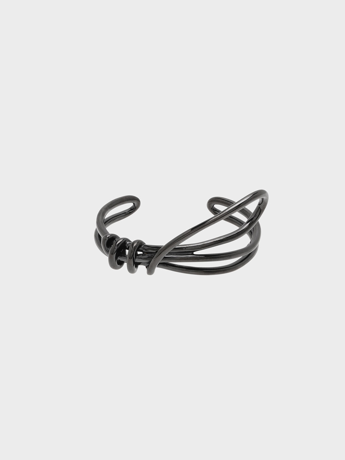Knotted Design Cuff Bangle, Black, hi-res