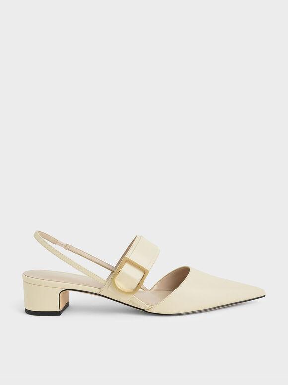 D字釦繞踝粗跟鞋, 石灰白, hi-res