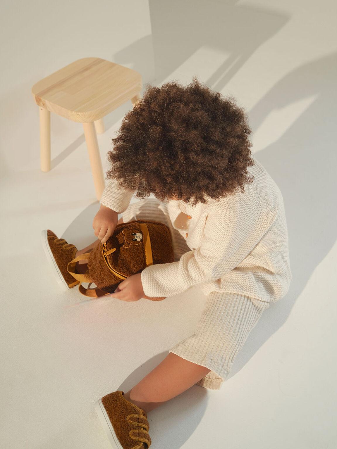 Girls' Bear Motif Furry Backpack, Brown, hi-res