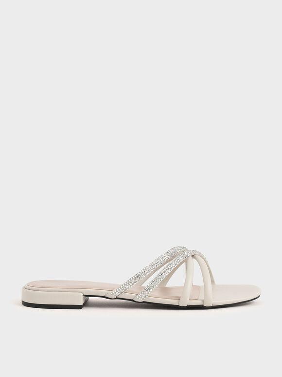Embellished Slide Sandals, Chalk, hi-res