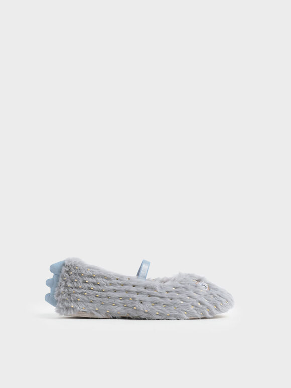 Girls' Furry Eye Detail Mary Jane Flats, Light Blue, hi-res