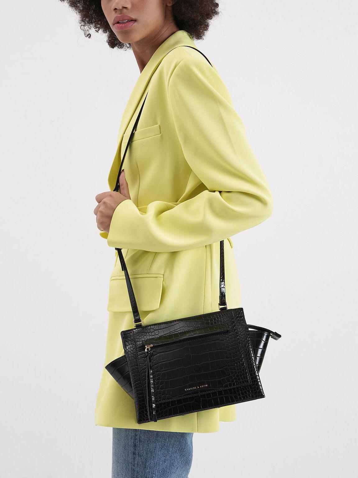 Croc-Effect Mini Trapeze Crossbody Bag, Black, hi-res