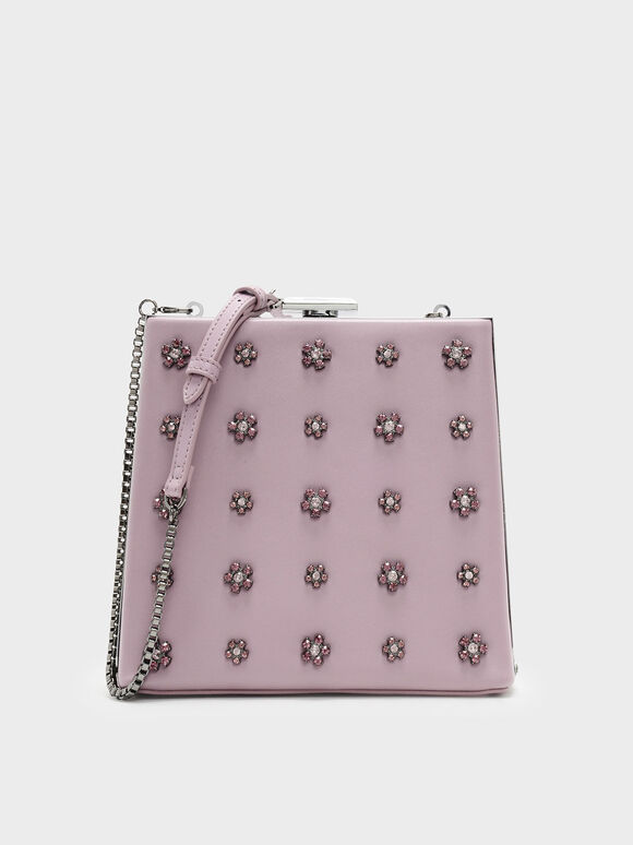 Embellished Leather Clutch, Lilac, hi-res