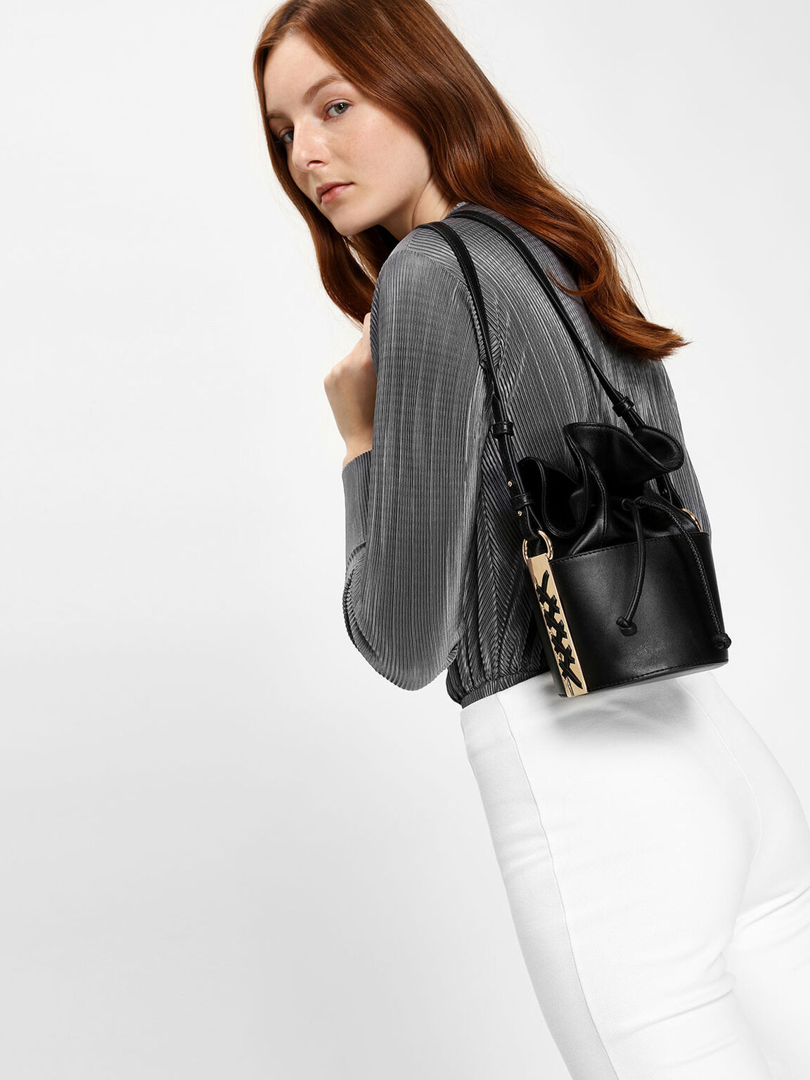 Leather Drawstring Bucket Bag, Black, hi-res