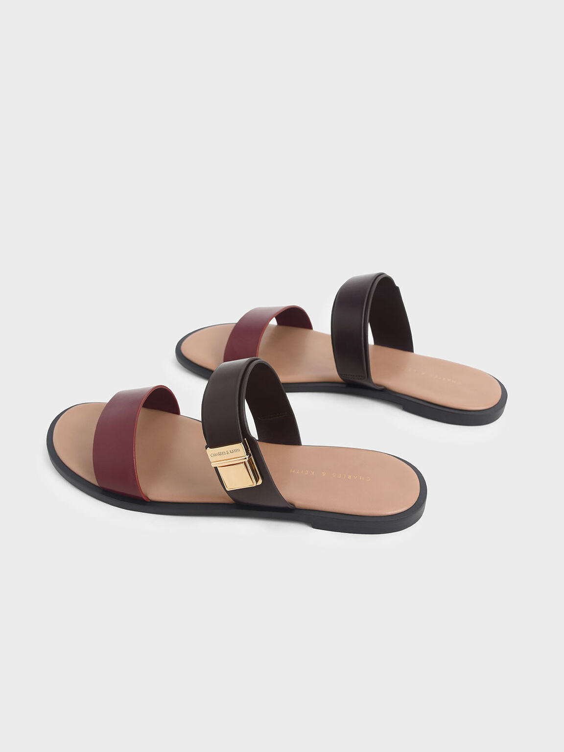 Buckle Double Strap Slide Sandals, Burgundy, hi-res