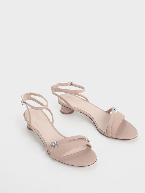 Gem Embellished Cylindrical Heel Sandals, Nude