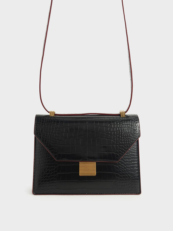 Croc-Effect Metal Accent Crossbody Bag, Black, hi-res