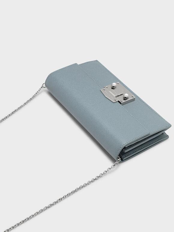 Push-lock Wallet, Steel Blue, hi-res