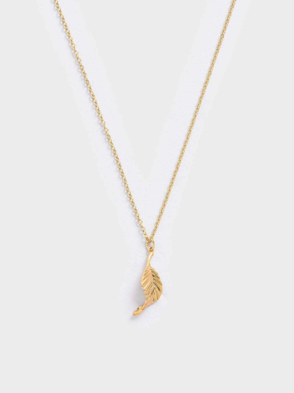 Leaf Pendant Bead Necklace, Brush Gold, hi-res