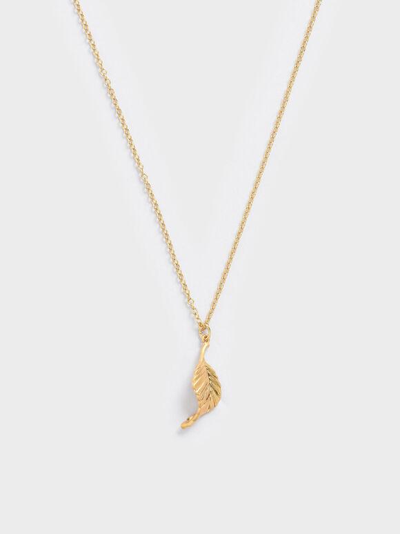 Leaf Pendant Bead Necklace, Brush Gold, hi-res