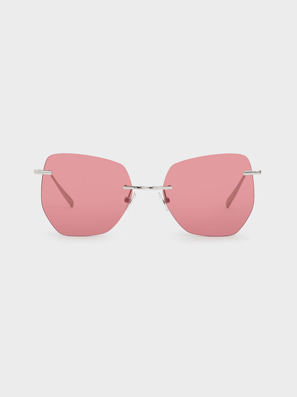Rimless Geometric Sunglasses, Red, hi-res
