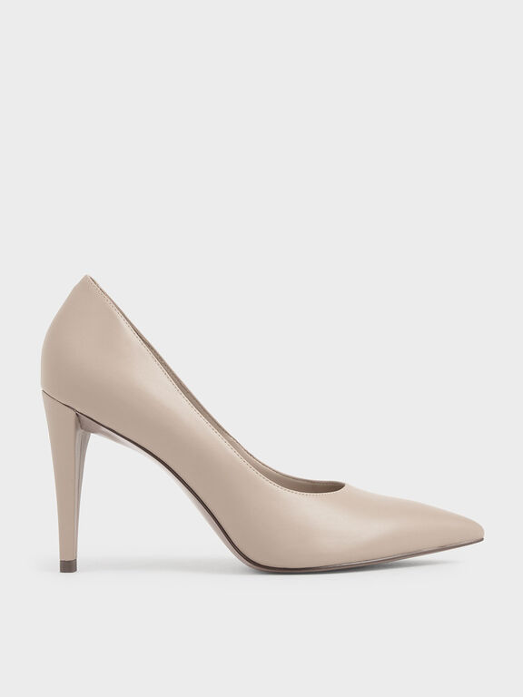 Pointed Toe Pumps, Beige