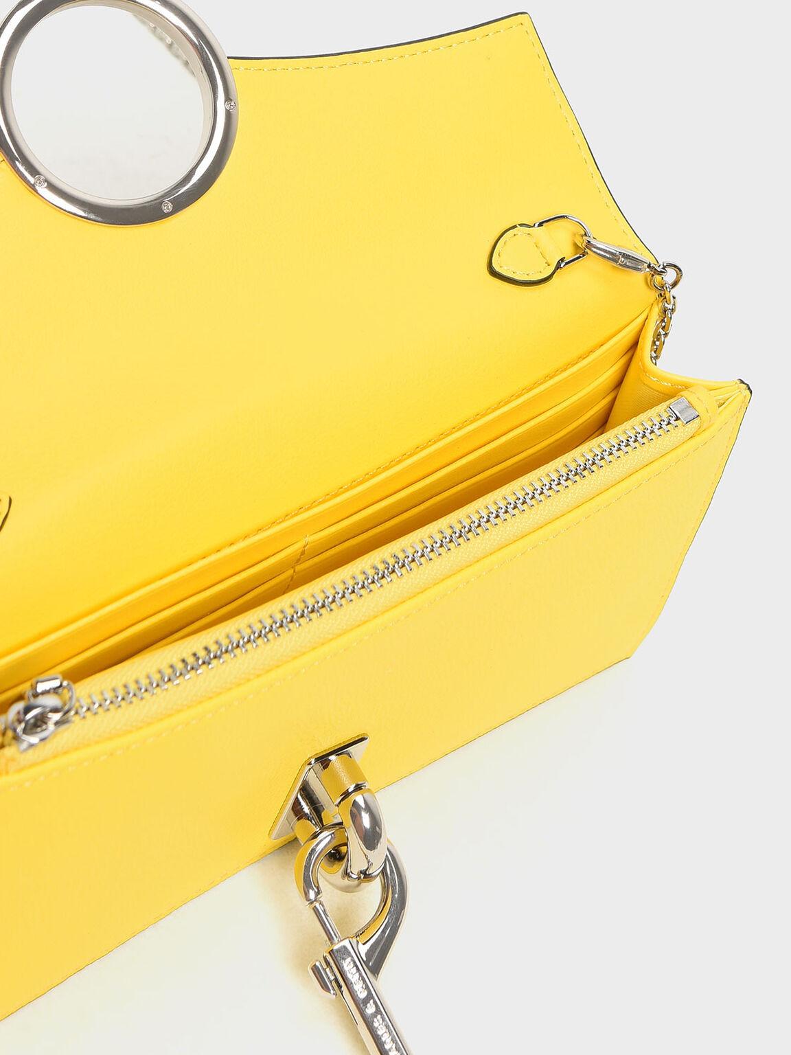 垂掛鍊條長夾, 黃色, hi-res