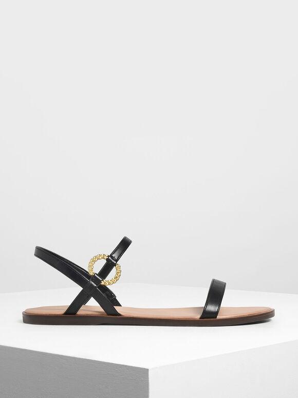 Gold Buckle Detail Sandals, Black, hi-res