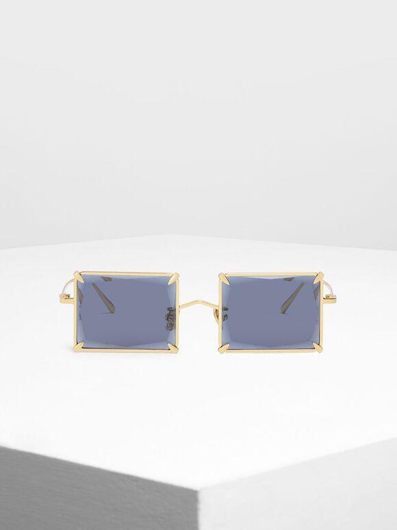 스퀘어 와이어 프레임 선글라스, Blue, hi-res