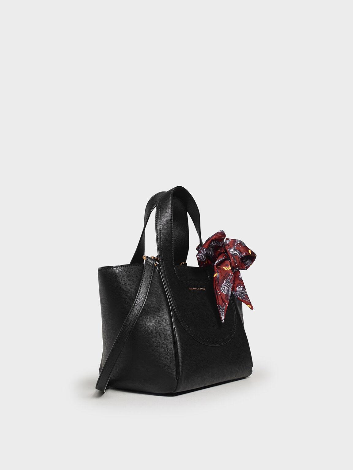 Printed Bow Trapeze Bag, Black, hi-res