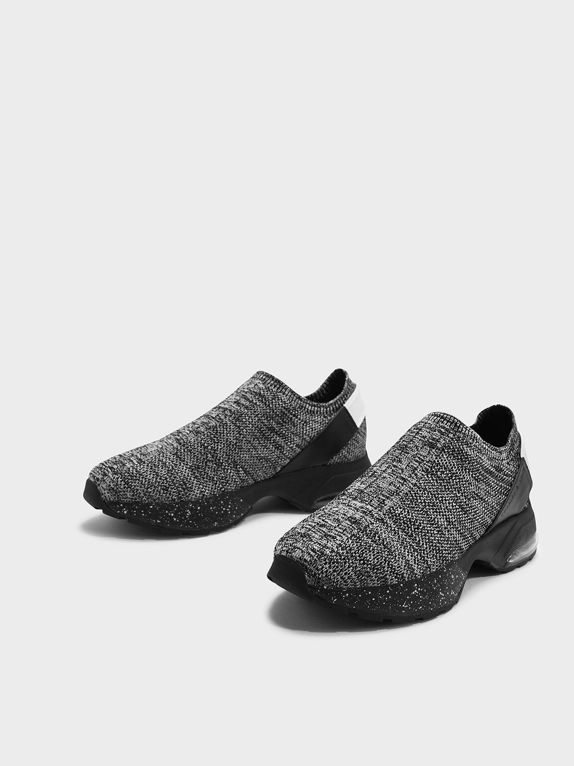 Knitted Sock Sneakers, Grey, hi-res