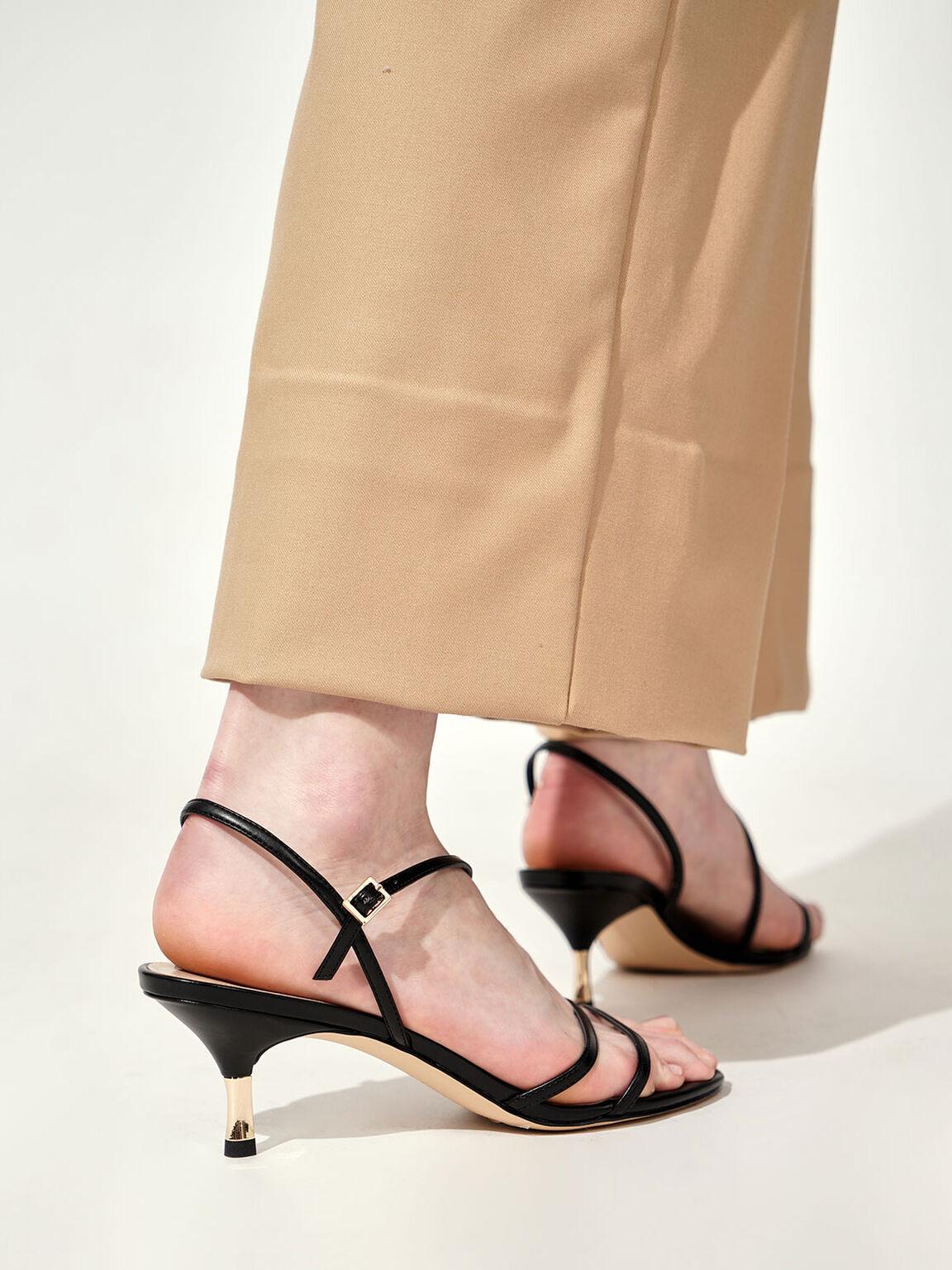Strappy Metallic Heel Sandals, Black, hi-res