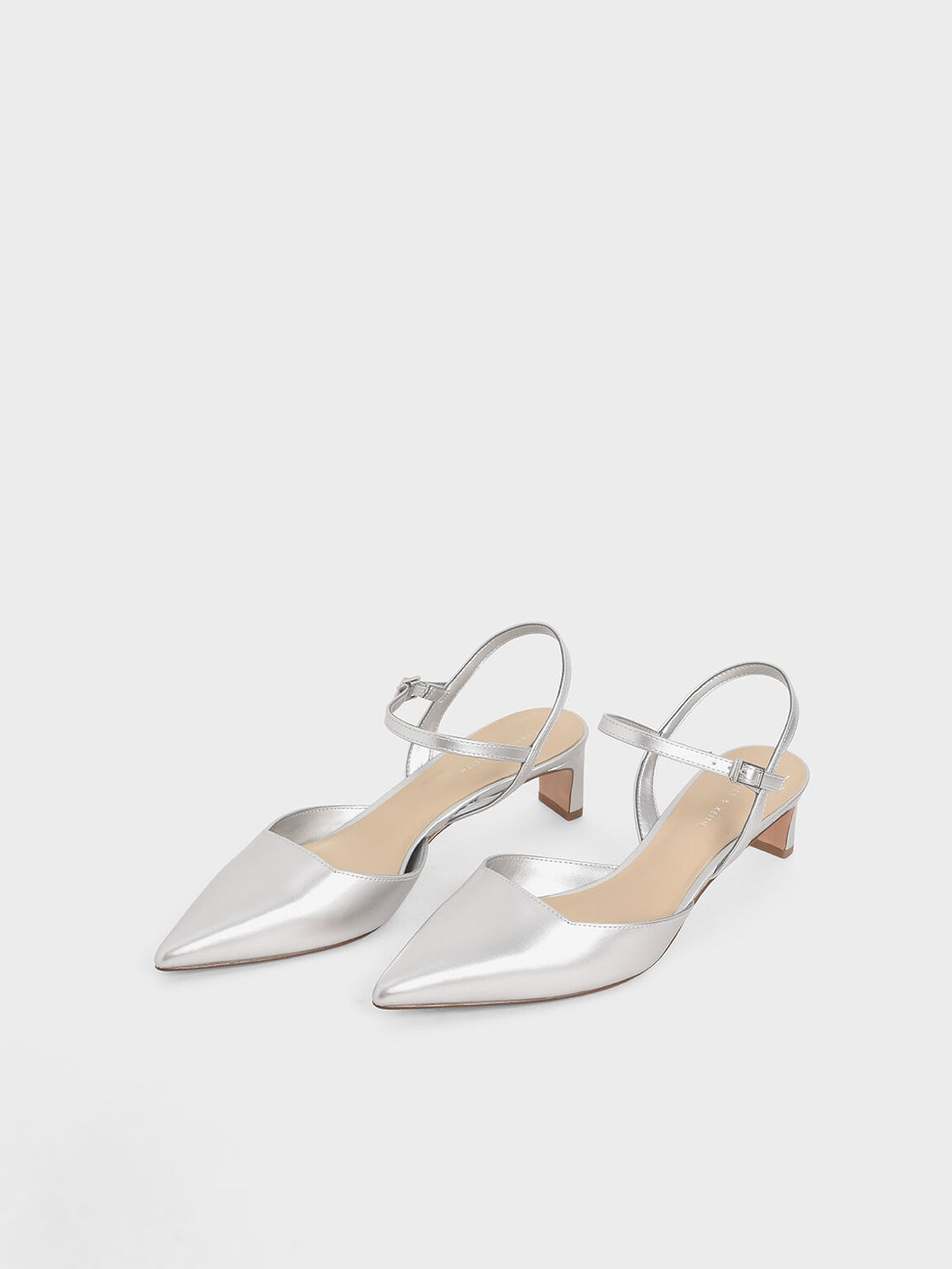 Metallic Ankle Strap Pumps, Silver, hi-res