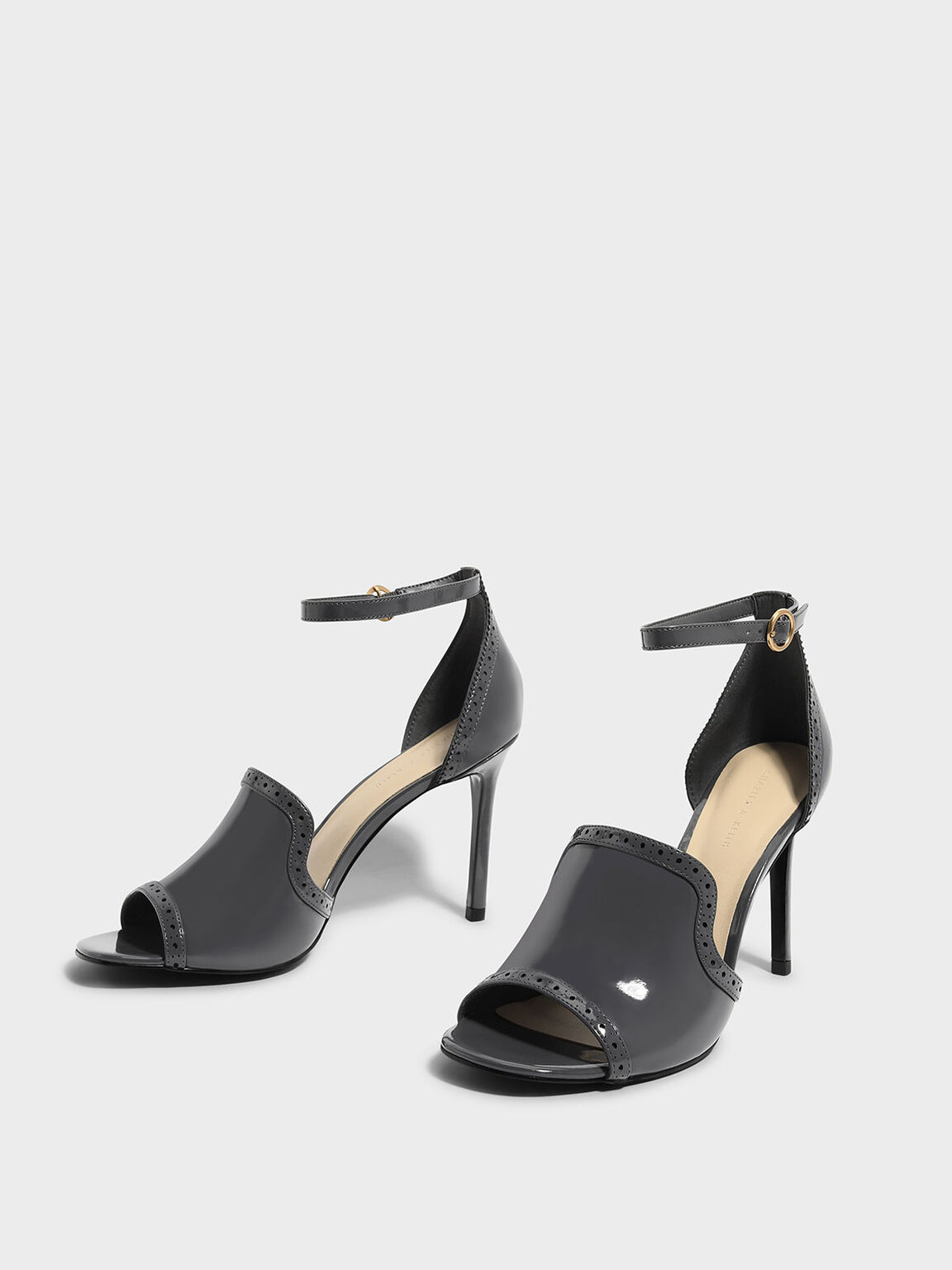 Brogue Detail Heeled Sandals, Dark Grey, hi-res