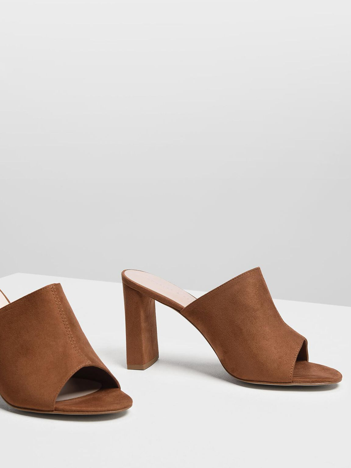 Block Heel Slide Sandals, Cognac, hi-res