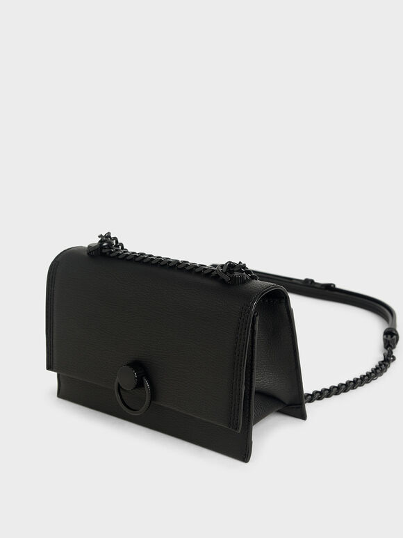 Ring Push-Lock Shoulder Bag, Ultra-Matte Black, hi-res