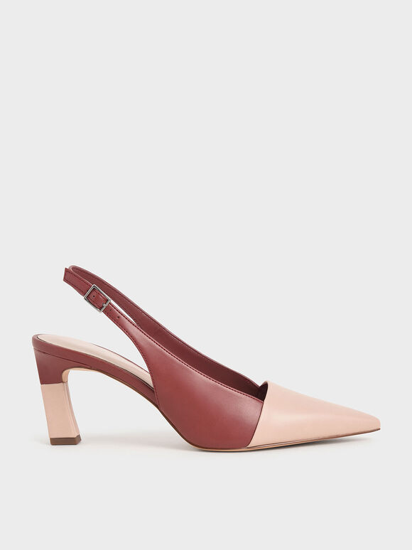 Sculptural Heel Slingback Pumps, Brick, hi-res