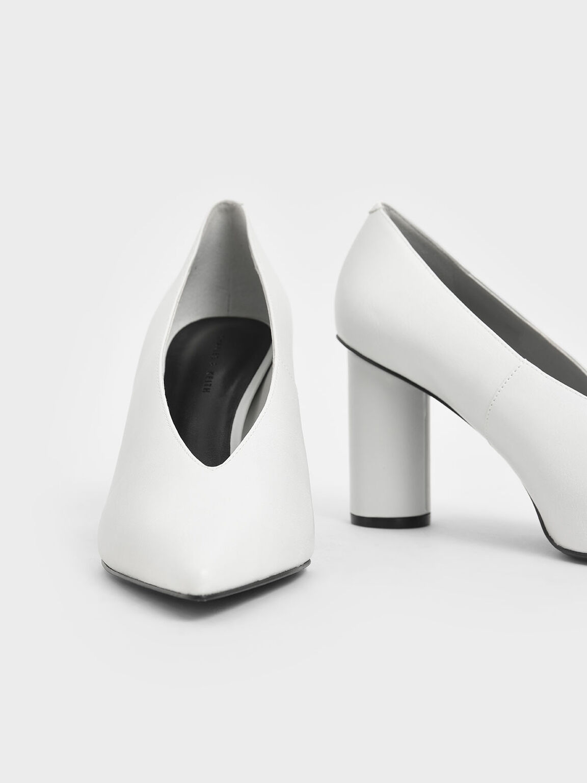 V-Cut Cylindrical Heel Pumps, White, hi-res