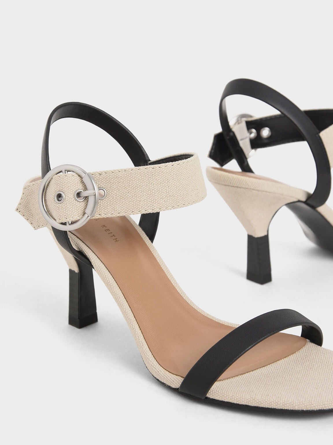 Oversized Buckle Two-Tone Heeled Sandals, Beige, hi-res
