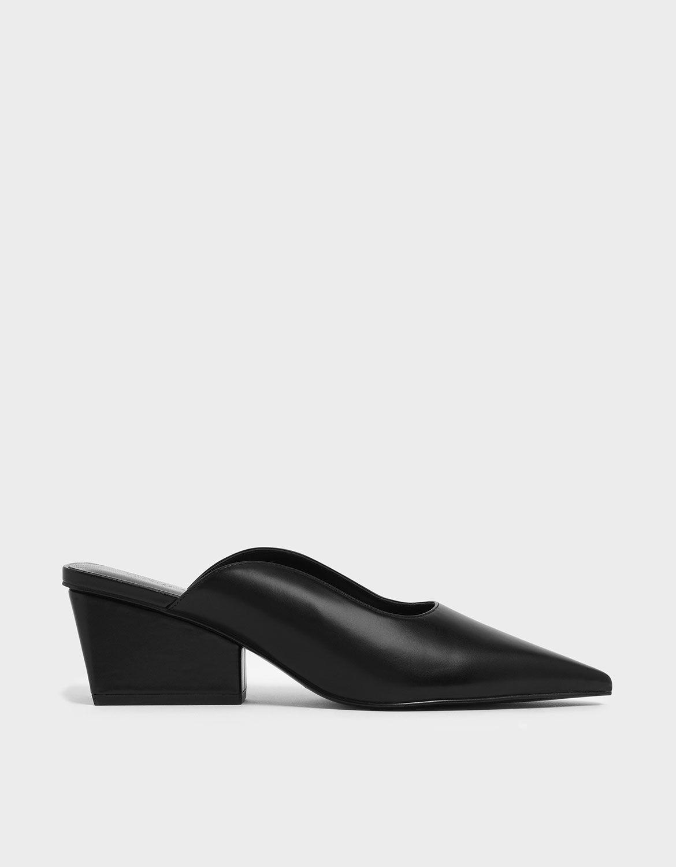 Black Pointed Toe Wedge Heel Mules
