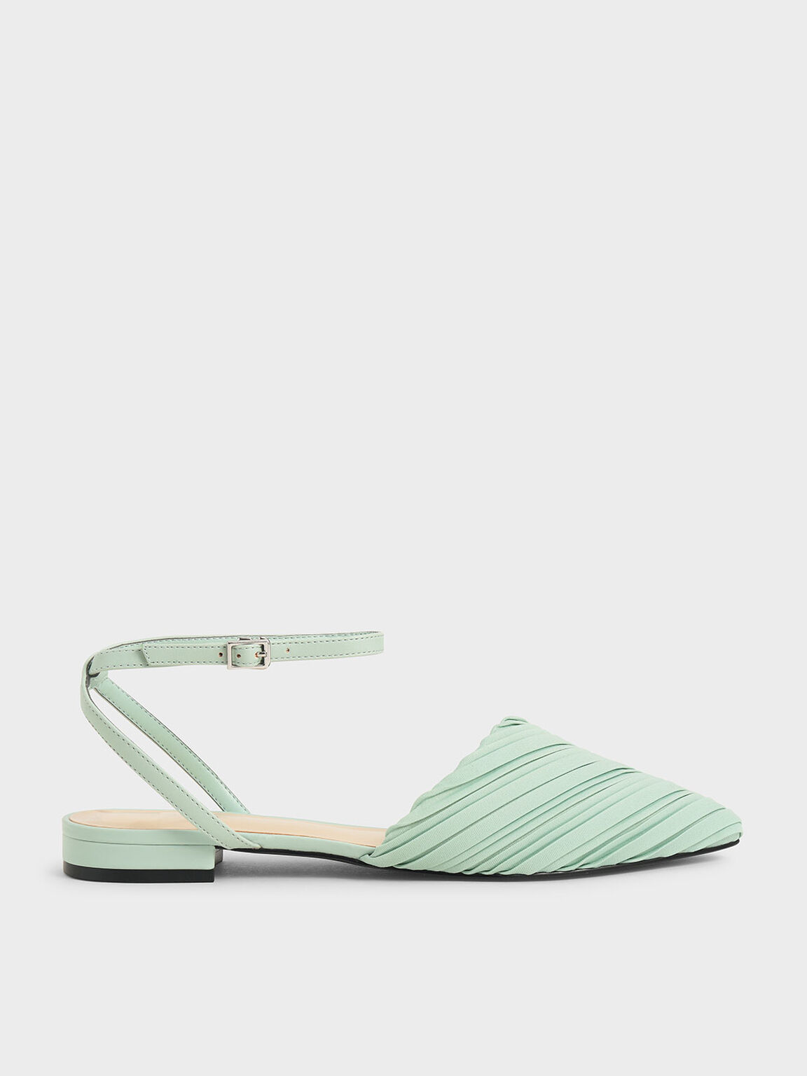 Pleated Ankle Strap Flat Pumps, Mint Green, hi-res