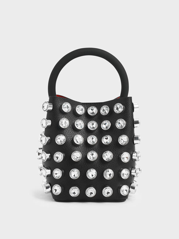Embellished Bucket Bag, Black, hi-res