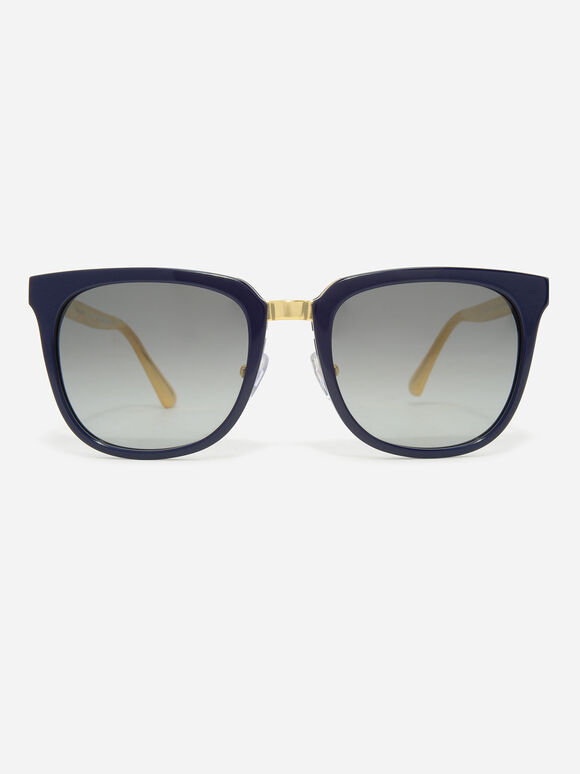 Acetate Frame Wayfarer Sunglasses, Navy, hi-res