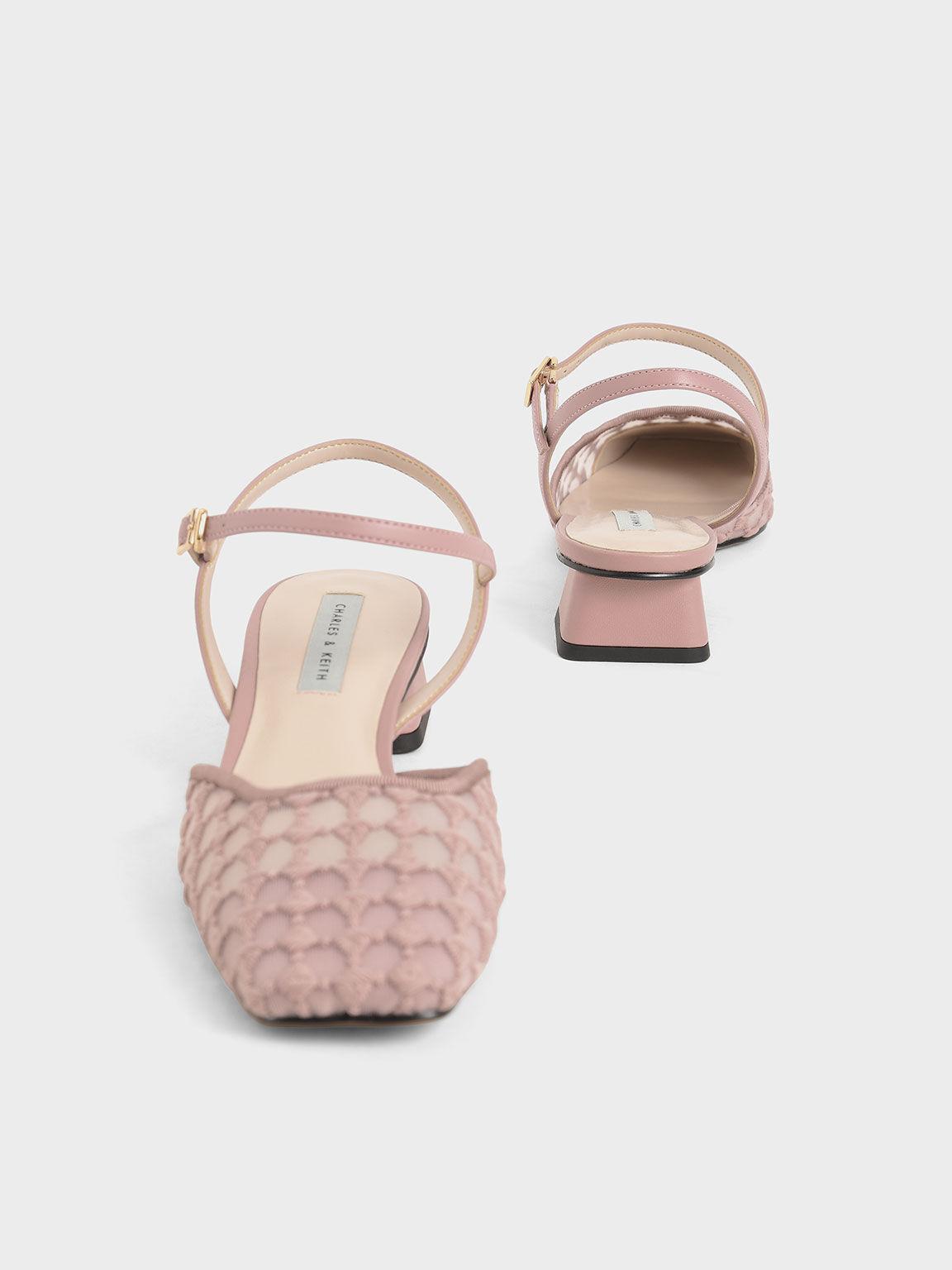 Lace Square Toe Pumps, Light Pink, hi-res