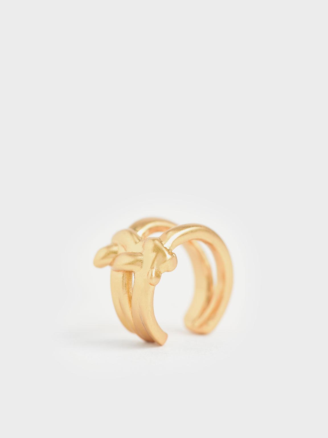 Sculptural Hoop Earrings, Brush Gold, hi-res