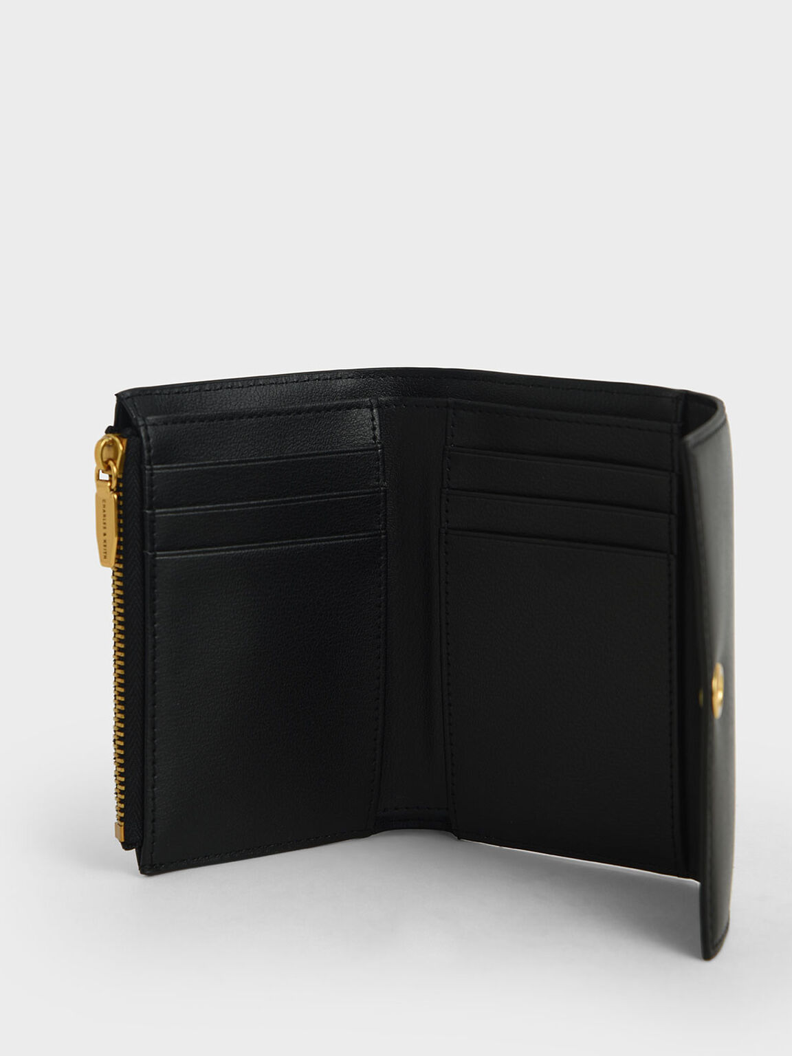 Turn-Lock Fold Wallet, Black, hi-res