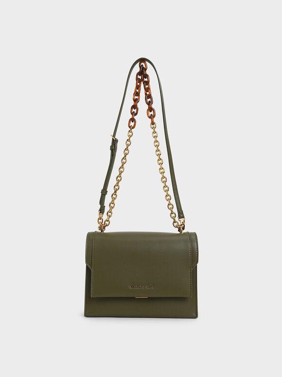 Chunky Chain-Link Crossbody Bag, Olive, hi-res