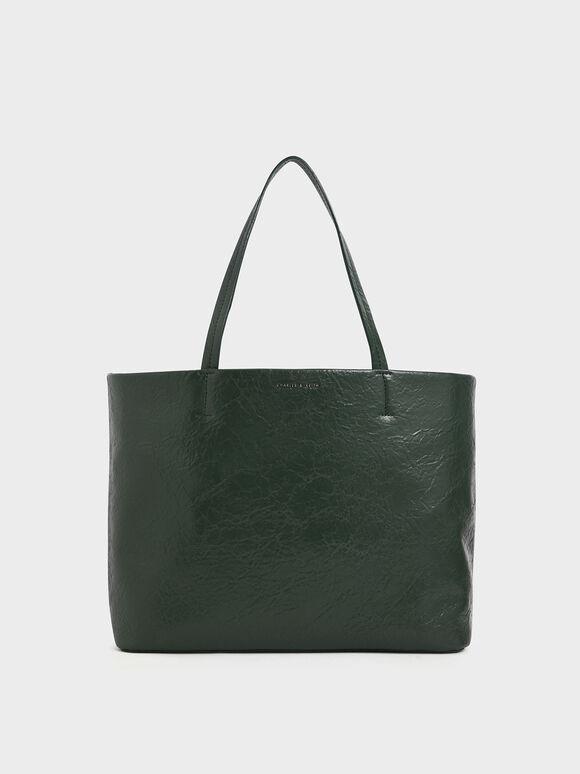 Wrinkled Effect Large Tote Bag, Dark Green, hi-res
