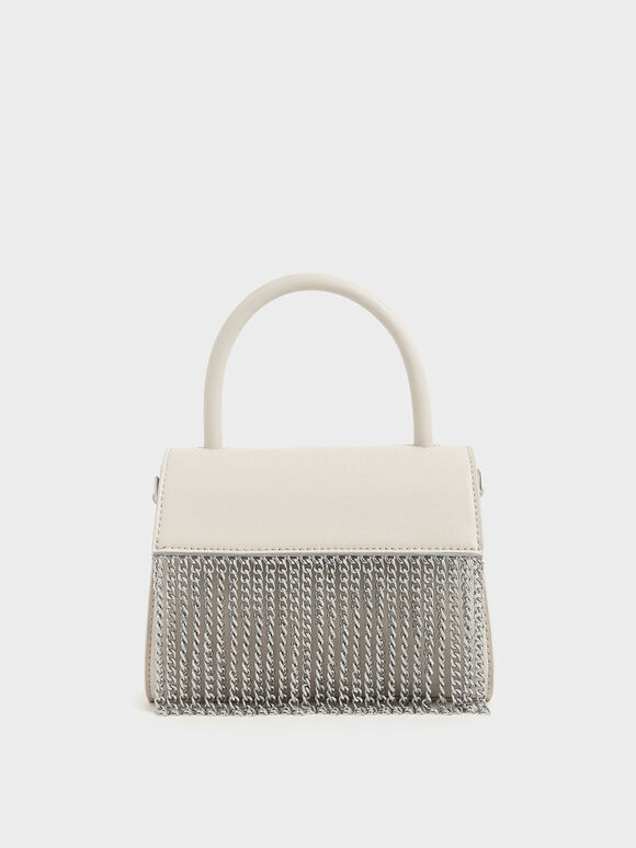 Metallic Fringe Top Handle bag, Cream, hi-res